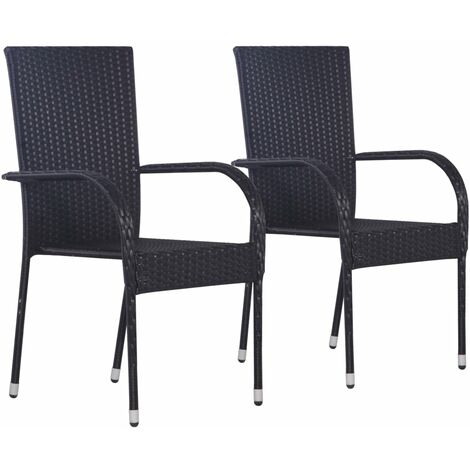 Stackable Outdoor Chairs 2 pcs Poly Rattan Black
