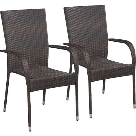 Stackable Outdoor Chairs 2 pcs Poly Rattan Brown