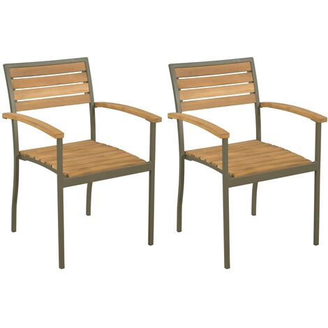Stackable Outdoor Chairs 2 pcs Solid Acacia Wood and Steel - Brown