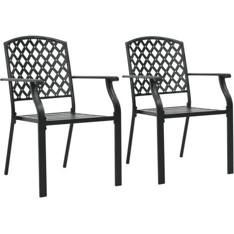 Stackable Outdoor Chairs 2 pcs Steel Black