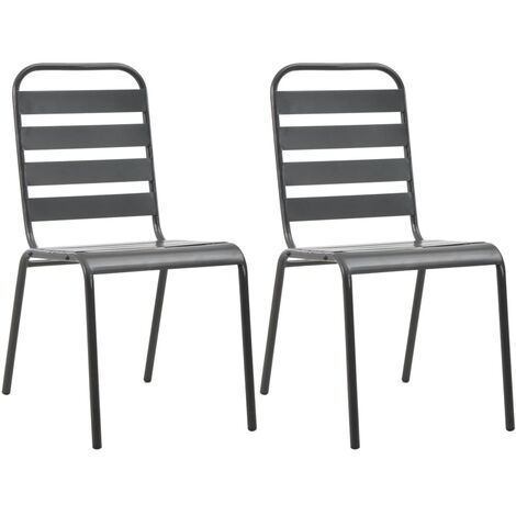 Stackable Outdoor Chairs 2 pcs Steel Grey