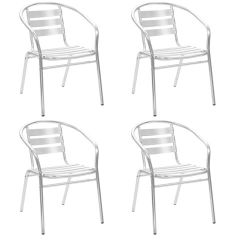 Stackable Outdoor Chairs 4 pcs Aluminium