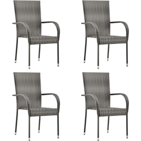 Stackable Outdoor Chairs 4 pcs Grey Poly Rattan - Grey