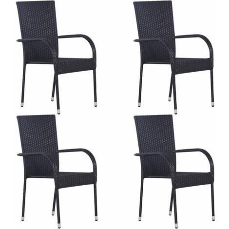 Stackable Outdoor Chairs 4 pcs Poly Rattan Black