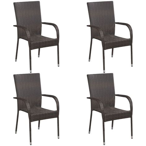 Stackable Outdoor Chairs 4 pcs Poly Rattan Brown