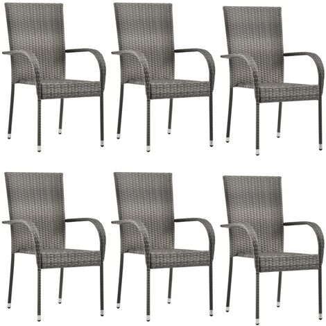 Stackable Outdoor Chairs 6 pcs Grey Poly Rattan - Grey