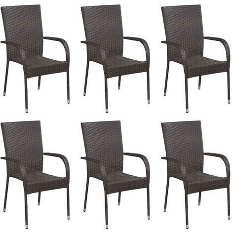 Stackable Outdoor Chairs 6 pcs Poly Rattan Brown