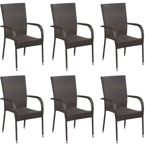 Stackable Outdoor Chairs 6 pcs Poly Rattan Brown - Brown