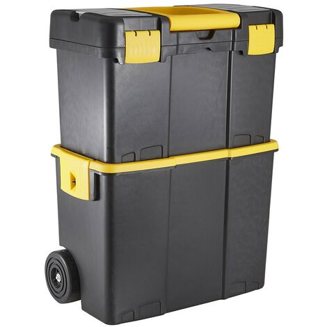 Stackable Plastic Tool Box with Wheels & Handle - Lockable Chest Organiser