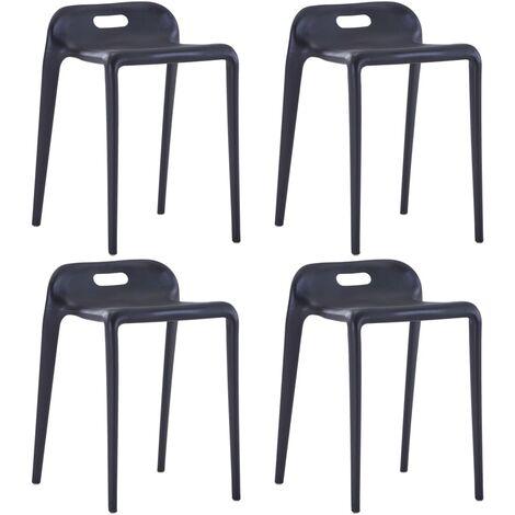 Stackable Stools 4 pcs Black Plastic