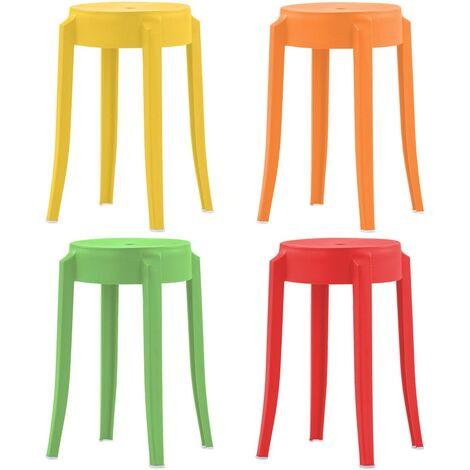 Stackable Stools 4 pcs Multicolour Plastic - Multicolour