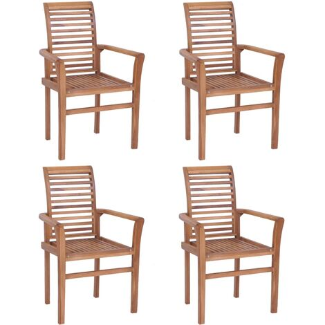 Stacking Dining Chairs 4 pcs Solid Teak