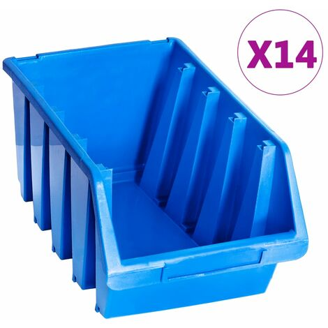 Stacking Storage Bins 14 pcs Blue Plastic