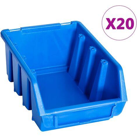 Stacking Storage Bins 20 pcs Blue Plastic