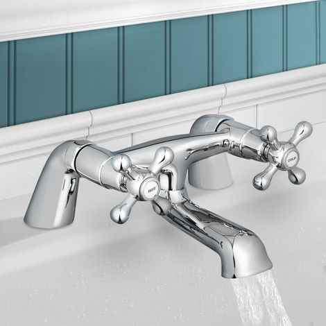 Stafford Classic Bath Filler Mixer Tap with Traditional Cross Head Taps