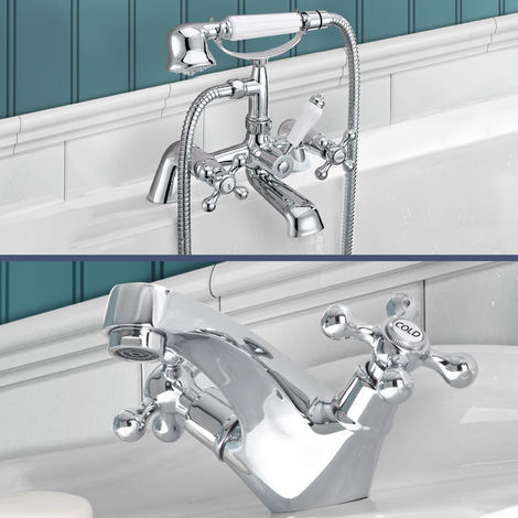 Stafford victorian Bath Shower Mixer & Basin Mono Mixer Tap