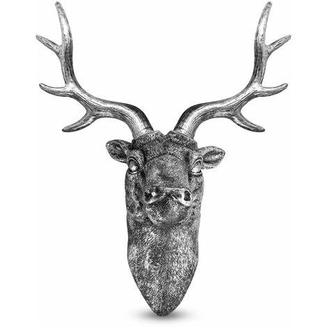 Stag Deer Head Wall Sculpture | M&W Silver