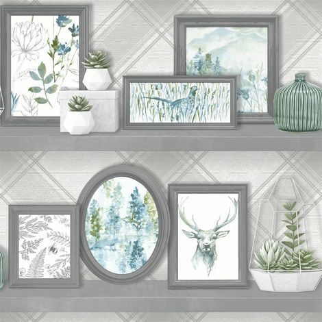 Stag Frames Wallpaper Animal Print Pheasant Floral Flowers Grey Teal Holden