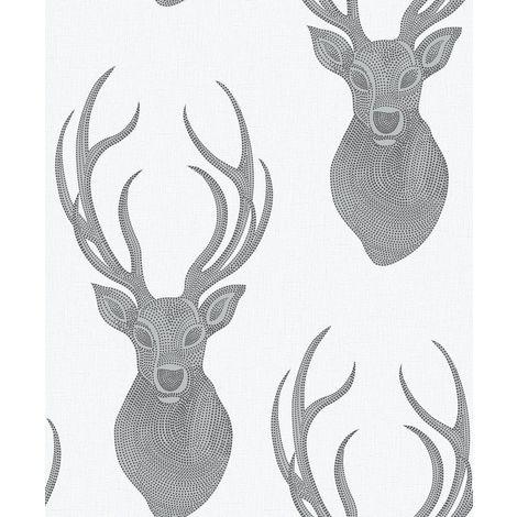 Stag Wallpaper Animal Print Glitter Textured White Black Silver Rasch