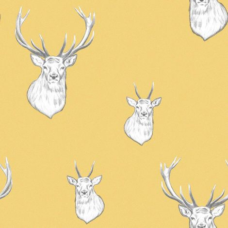 Stag Wallpaper Stripes Lines Woven Effect Yellow Grey White Catherine Lansfield