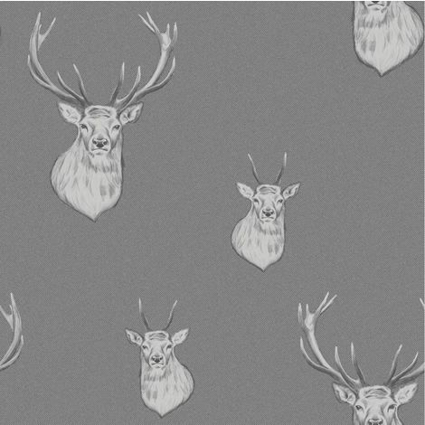 Stag Wallpaper Stripes Woven Effect Grey Silver Metallic Catherine Lansfield