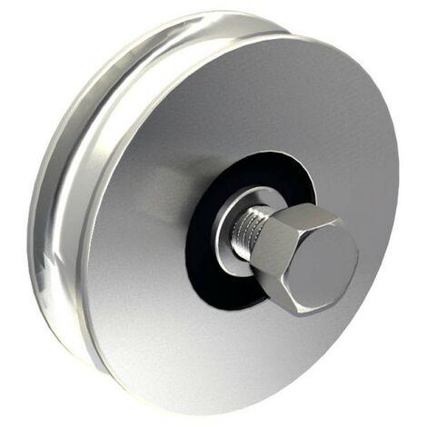Stahl-Laufrolle Ø100mm (Ø98mm) für Schiebetore, mit 12 mm Rundrille, für Tore bis 400 kg