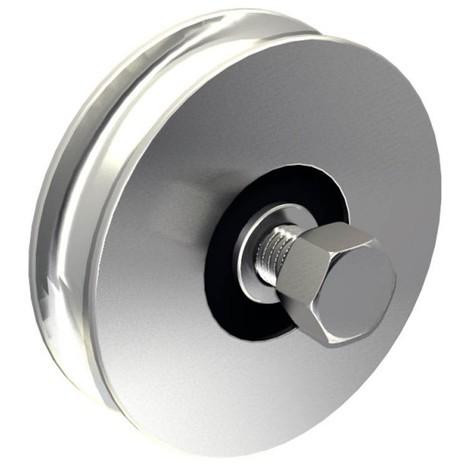 Stahl-Laufrolle Ø90mm (Ø88mm) für Schiebetore, mit 16mm Rundrille, für Tore bis 400 kg