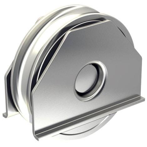 Stahl-Laufrolle mit Tragbügel Ø80mm (Ø78mm) für Schiebetore, mit 16mm Rundrille, für Tore bis 400 kg
