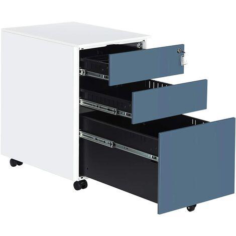 Stahl Rollcontainer mit 3 Schubladen und Hängeregistratur Abschließbarer Büroschrank, Schrankkorpus Vormontiert, 39 x 60 x 52cm Schwarz/Weiß/Grau/Weiß-blau