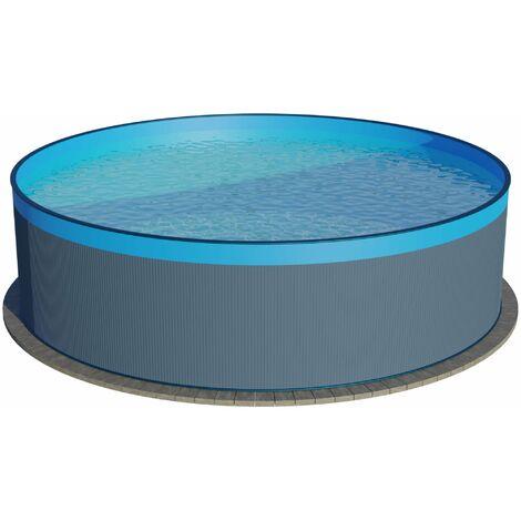 Stahlwandpool rund anthrazit 90 cm Tiefe - Innenhülle blau - ohne Skimmerstanzung