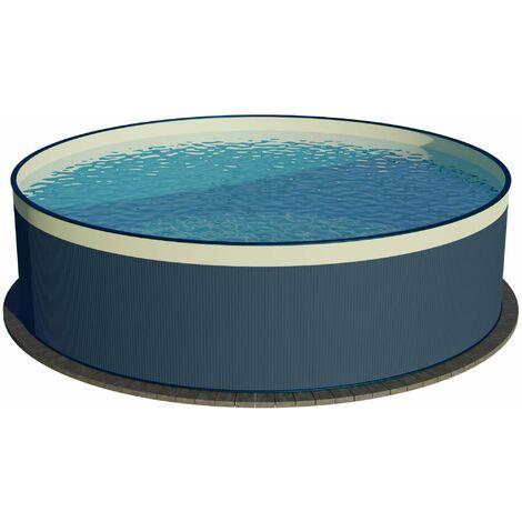 Stahlwandpool rund anthrazit 90 cm Tiefe - Innenhülle sandfarben - ohne Skimmerstanzung