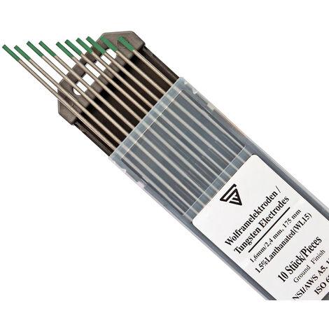 STAHLWERK 10 x TIG Electrodes de tungstène 1,6/2,4 x 175 mm WP vert chacun 5