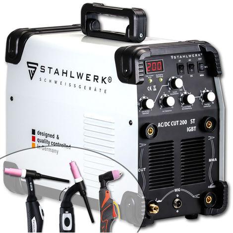 STAHLWERK AC/DC TIG 200 Plasma ST IGBT Machine à souder TIG 200A Combiné avec coupeur de plasma CUT 50 A, Convient pour l´Aluminium, Garantie* de 5 ans