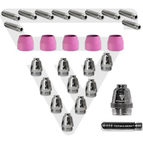 STAHLWERK AG-60 Plasma Accessories Kit consumables plasma nozzles + electrodes + ceramic caps for AG-60 / SG-55 CUT Plasma Cutter Burner, Set 25 pieces