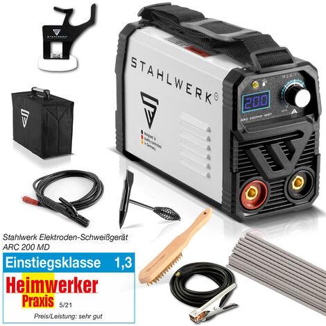 STAHLWERK ARC 200 MD IGBT - máquina de soldar DC MMA / soldadura de electrodos con 200 amperios, muy compacto, blanco, equipo completo, 7 años de garantía del fabricante