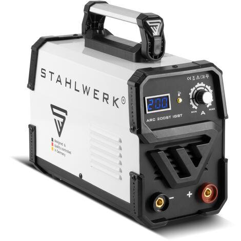 STAHLWERK ARC 200 ST IGBT - machine à souder DC avec fonction soudage manuel MMA , 200 ampères très compacte, blanche, garantie* du fabricant de 7 ans