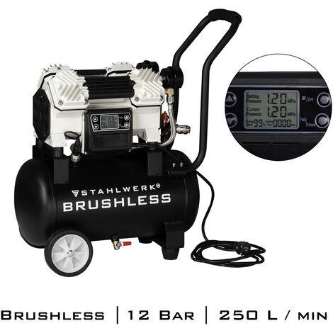 STAHLWERK Brushless Druckluft Kompressor ST-1220 BL, Flüsterkompressor verschleißfrei und leistungsstark 1500W Brushless, max. Druck12 Bar, 18L Kessel Durchfluss 250 l/min