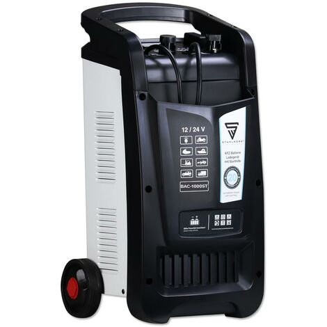 STAHLWERK Cargador de batería BAC-1000 ST, modo 12/24V, rendimiento de batería hasta 1000 Ah, corriente de carga hasta 90A, función de arranque, Booster, temporizador, 7 años de garantía*