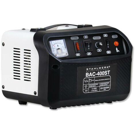 STAHLWERK Cargador de batería BAC-400 ST, modo 12/24V, capacidad de batería hasta 400 Ah, corriente de carga hasta 50A, Booster, 7 años de garantía*.