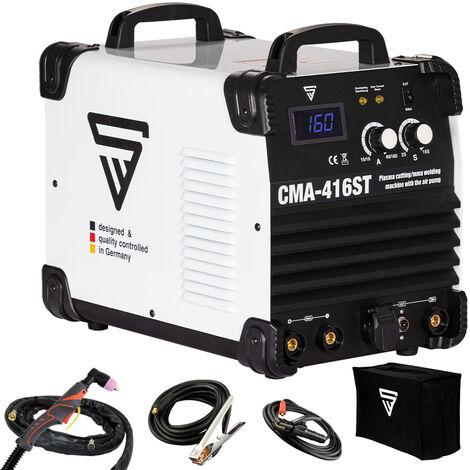 STAHLWERK CMA-416 ST Schweißgerät 160A MMA schweißen Plasmaschneider 40A schneiden inklusive integriertem brushless Kompressor bis 10 mm Schneidleistung 7 Jahre Herstellergarantie