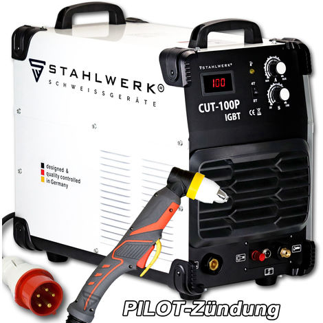 STAHLWERK CUT 100 P IGBT Coupeur de plasma avec 100 ampères, allumage pilote, capacité de coupe jusqu'à 44 mm, convient pour la rouille, garantie* de 5 ans