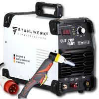 STAHLWERK CUT 70 P Coupeur de plasma IGBT avec 70 ampères, allumage pilote, capacité de coupe jusqu'à 25 mm ,adapté aux tôles peintes, garantie* de 5 ans