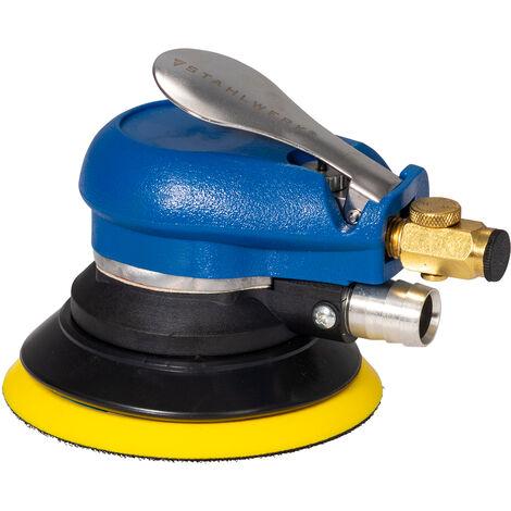 STAHLWERK Druckluft Schleif- und Poliermaschine zum Polieren von lackierten Oberflächen und zum Schleifen von Metall, Kunststoffen und Holz, mit Absaugsystem und Staubsack