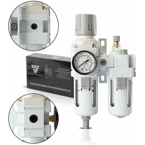 """STAHLWERK Druckluftwartungseinheit mit Öler bis 10,5 bar für Druckluftkompressoren Druckluftwerkzeuge Wartungseinheit Wasserabscheider Öler Filter Druckluft Druckregler Anschluss 1/4"""""""