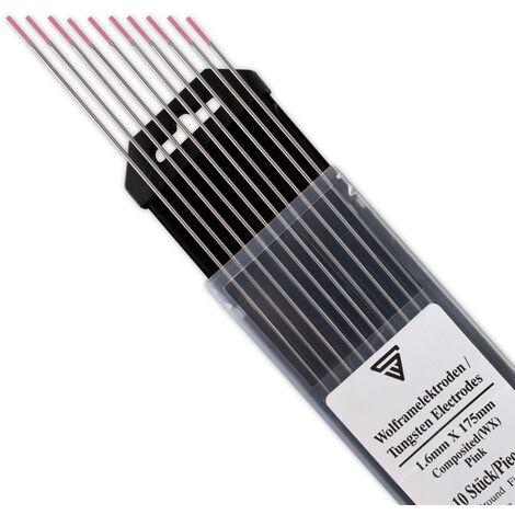 STAHLWERK Electrodos de Tungsteno Agujas TIG Electrodos 1.6 WX Rosa Juego de 10