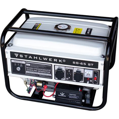 STAHLWERK generador SG-65 ST, 6,5 CV, generador de gasolina, grupo electrógeno de emergencia, consumo bajo y de pocas inspecciones, 7 años de garantía