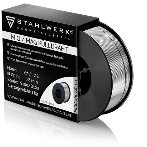 STAHLWERK hilo FLUX MIG/MAG Ø 0,8 mm, filo FLUX de soldadura E71T-GS, rollo de 1 kg D100 con mandril de 16 mm, de uso universal
