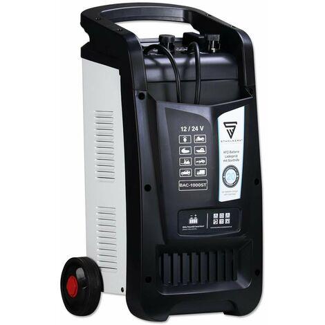 STAHLWERK KFZ Cargador de batería BAC-1000 ST, modo 12/24V, capacidad de batería hasta 1000 Ah, corriente de carga hasta 90A, función de arranque, Booster, temporizador, 7 años de garantía*