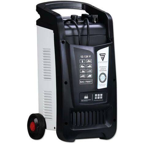 STAHLWERK KFZ Cargador de batería BAC-700 ST, modo 12/24V, rendimiento de batería hasta 700 Ah, corriente de carga hasta 60A, función de arranque, Booster, temporizador