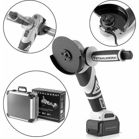 STAHLWERK Meuleuse d'angle sans fil Brushless avec système de batterie 20 V, 8000 tr/min, pour disques de 115 mm et 125 mm, batterie 4 Ah et chargeur